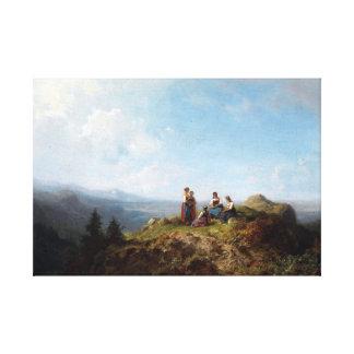 Lienzo Chicas de Carl Spitzweg en un pasto