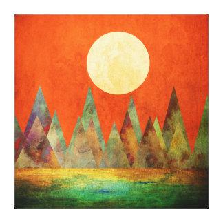 Lienzo Cielo abstracto del naranja de las montañas de la