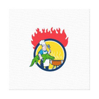 Lienzo Círculo Carto del fuego de la parrilla del Bbq de