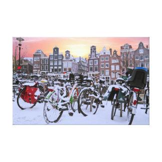Lienzo Ciudad escénica de Amsterdam nevosa Países Bajos