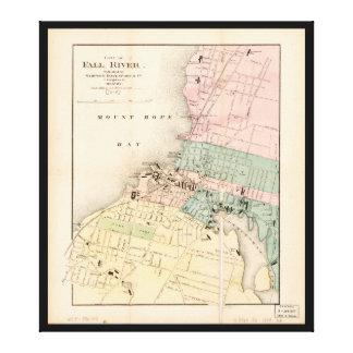 Lienzo Ciudad mapa de Fall River, Massachusetts (1874)