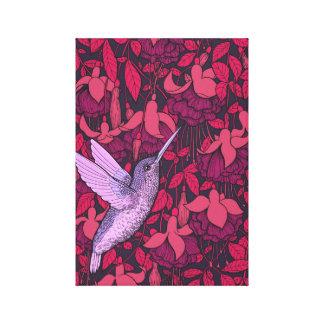 Lienzo Colibrí y violeta fucsia