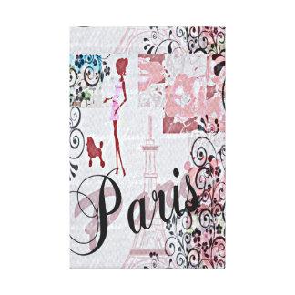 Lienzo Collage floral de París en rosa