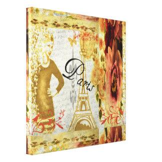 Lienzo Collage floral de París en rosa y oro