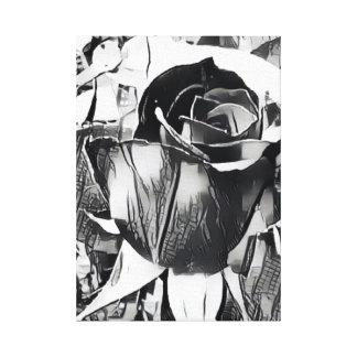 """Lienzo Color de rosa blanco y negro (14"""" x 19,6"""", 1,5"""","""
