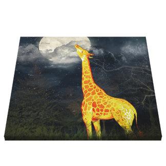 Lienzo ¿Como qué la luna prueba? Lona de la jirafa y de