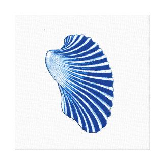 Lienzo Concha de peregrino Shell, azules añiles y blanco