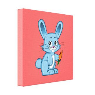 Lienzo Conejito lindo del dibujo animado que sostiene la