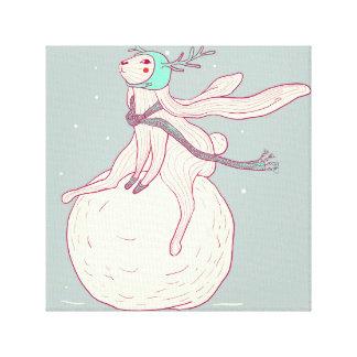 Lienzo Conejo del invierno y bola de la nieve