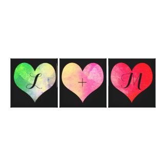 Lienzo Corazones coloridos de la acuarela con iniciales