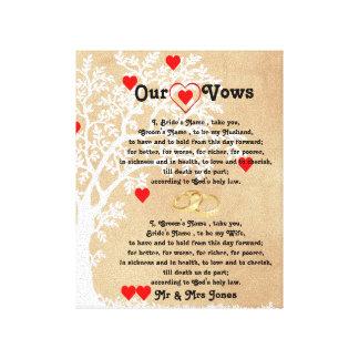 Lienzo Corazones y votos de boda del árbol en lona