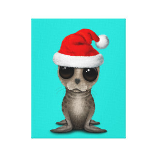 Lienzo Cría de foca que lleva un gorra de Santa