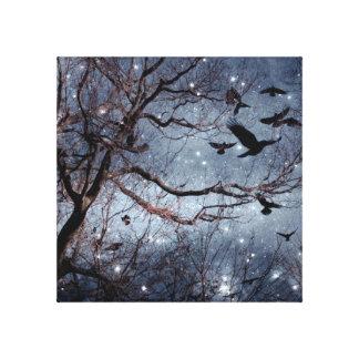 Lienzo Cuervos en un campo de estrella