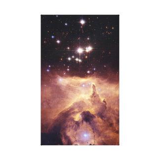 Lienzo Cúmulo de estrellas y nebulosa coloridos