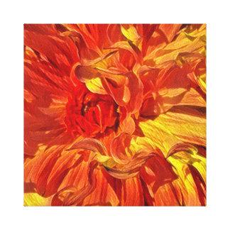 Lienzo Dalia anaranjada ardiente de lujo