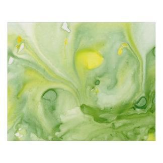 Lienzo De Imitación Acuarela abstracta floja en amarillo y verde