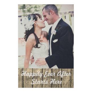 Lienzo De Imitación Añada su foto del boda feliz siempre después
