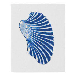 Lienzo De Imitación Concha de peregrino Shell, azules añiles y blanco