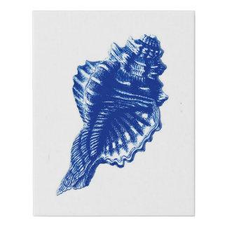 Lienzo De Imitación Concha Shell, azules añiles y blanco