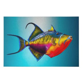 Lienzo De Imitación Dibujo colorido psicodélico de los pescados del