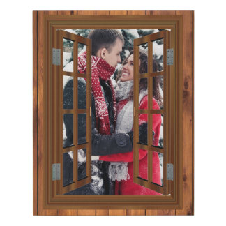 Lienzo De Imitación Falsa plantilla del marco de la ventana de madera