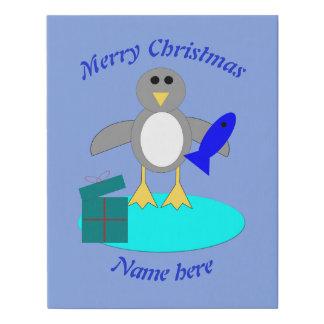 Lienzo De Imitación Felices Navidad que pescan la falsa lona del