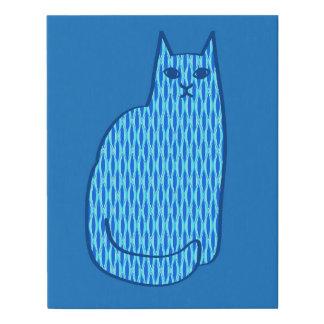 Lienzo De Imitación Gato, cobalto y azul claro modernos de los