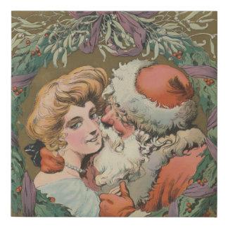 Lienzo De Imitación Guirnalda del navidad de Santa del vintage que se