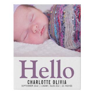 Lienzo De Imitación Hola nueva recuerdo personalizado del bebé púrpura