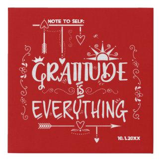 Lienzo De Imitación La gratitud es todo nota a la pizarra del uno
