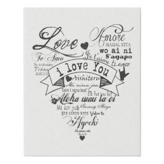 Lienzo De Imitación Las muchas idiomas de la lona del amor