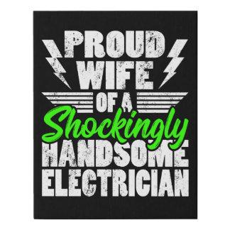 Lienzo De Imitación Lona del regalo de la esposa del electricista