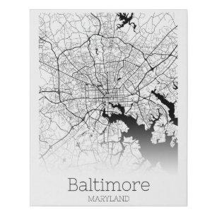 Lienzo De Imitación Mapa moderno de la ciudad de Baltimore