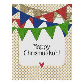 Lienzo De Imitación Navidad y Jánuca felices de Chrismukkah
