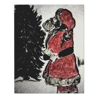 Lienzo De Imitación Papá Noel y árbol