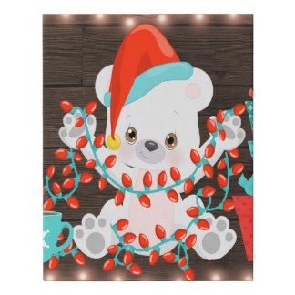 Lienzo De Imitación Pequeño oso polar lindo con las luces de navidad