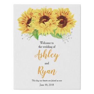 Lienzo De Imitación Recepción personalizada girasol amarillo del boda