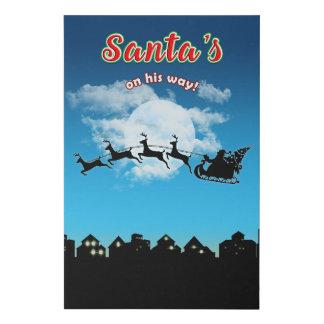 Santa's on his way Christmas Holiday Throw Pillow