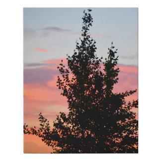 Lienzo De Imitación Silueta del árbol de la puesta del sol