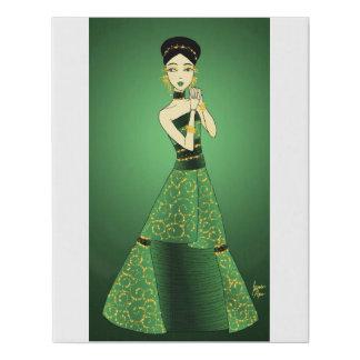 Lienzo De Imitación Verde y princesa del oro