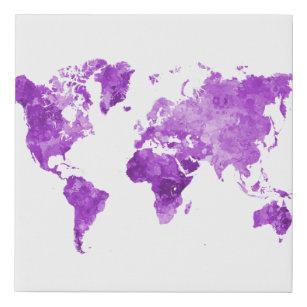 Lienzo De Imitación World map in watercolor 08 Purple