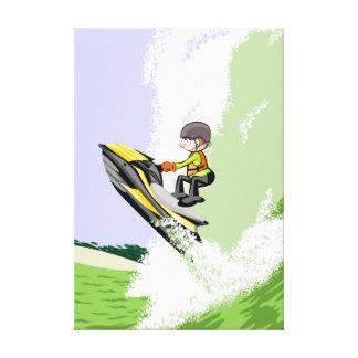 Lienzo Deportista de jet ski alcansado por una gran ola