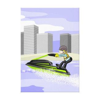 Lienzo Deportista en su jet ski por la rambla de la playa