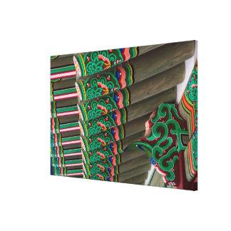 Lienzo Detalle adornado coreano del tejado