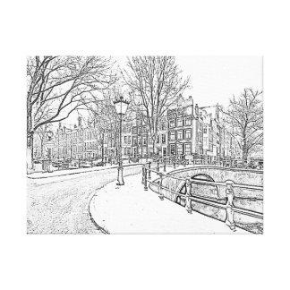 Lienzo Dibujo de lápiz de Amsterdam nevosa en Países