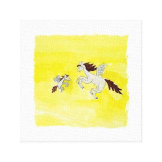 Lienzo Dibujo infantil de la acuarela con los caballos