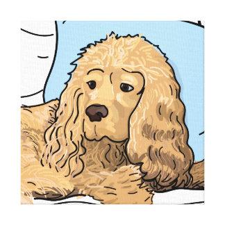 Lienzo Dibujo marrón claro lindo del retrato de cocker