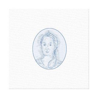 Lienzo Dibujo oval del busto ruso del siglo XVIII de la