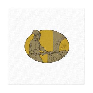 Lienzo Dibujo oval del panadero del pan del horno de