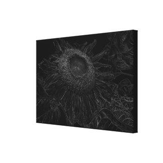 Lienzo Diseño blanco y negro del bosquejo del girasol